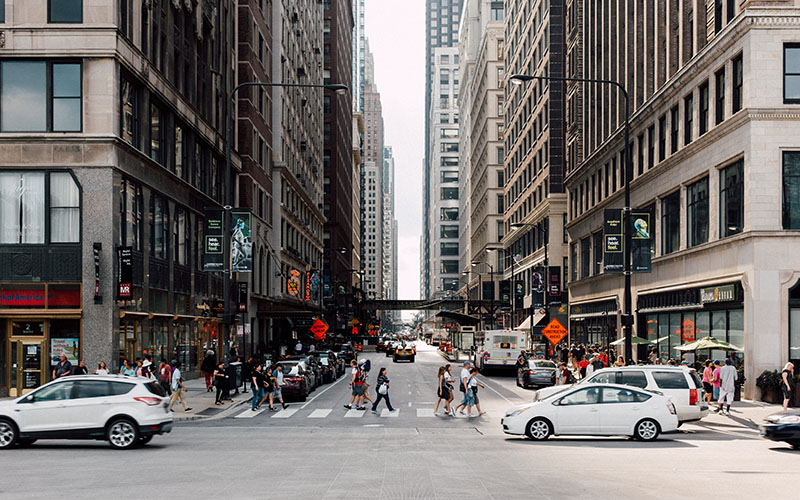 Busy Chicago street
