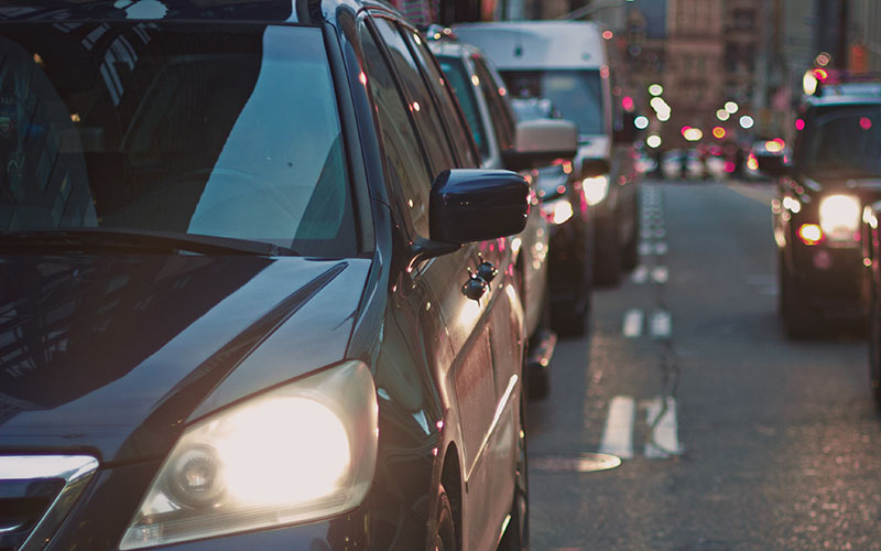Cars in traffic shot close up