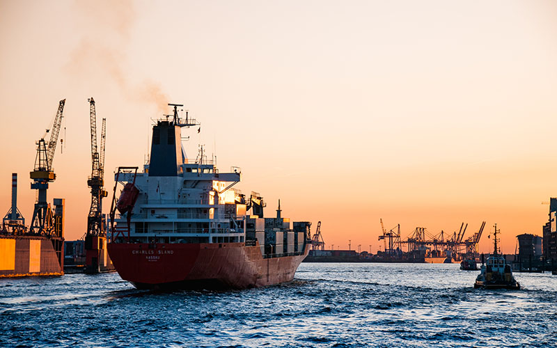 Ship in commercial port