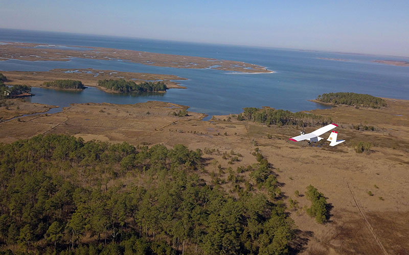 Drone with Chesapeake Bay in background